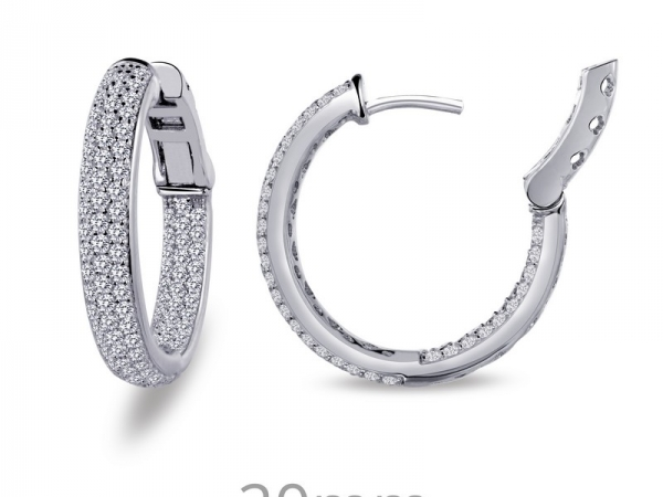 Silver & Simulated Diamond Hoops by Lafonn Jewelry